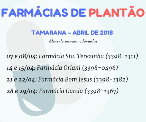Confira o plantão das farmácias de Tamarana em abril