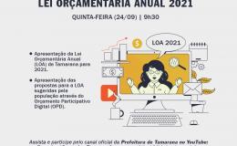 Audiência virtual nesta quinta-feira (24) irá apresentar proposta de LOA para 2021