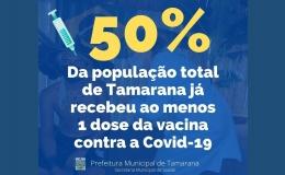 VACINAÇÃO 50% DA POPULAÇÃO VACINADA