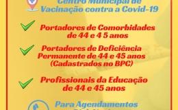 VACINA COVID PARA 44 E 45 ANOS